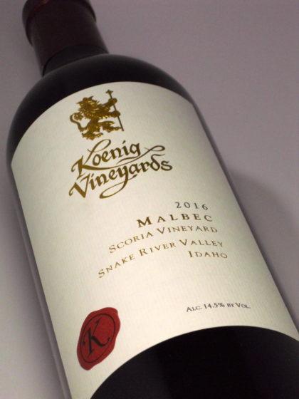 koenig vineyards scoria vineyard malbec 2016 bottle e1545012377438 - Koenig Vineyards 2016 Scoria Vineyard Malbec, Snake River Valley $30