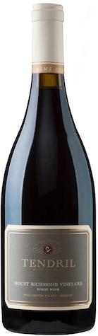 tendril wine cellars mount richmond vineyard pinot noir nv bottle - Tendril Wine Cellars 2014 Mount Richmond Vineyard Pinot Noir, Willamette Valley $60