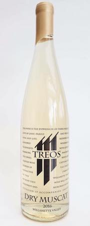 treos wines dry muscat 2016 bottle - Treos Wines 2016 Dry Muscat, Willamette Valley, $21