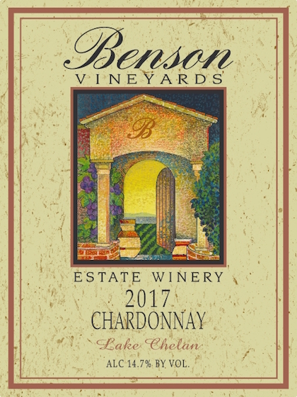 Benson 2017 Chardonnay Front - Benson Vineyards Estate Winery 2017 Chardonnay, Lake Chelan, $21