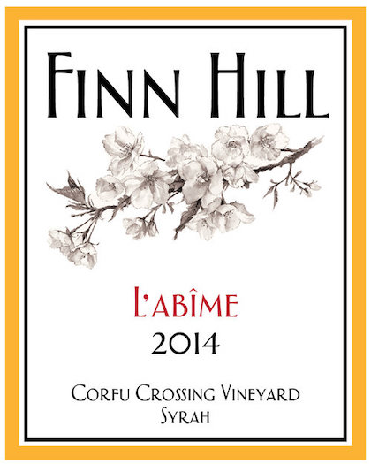 finn hill winery corfu crossing vineyard l abime syrah 2014 label - Finn Hill Winery 2014 Corfu Crossing Vineyard L'Abîme Syrah, Columbia Valley $30