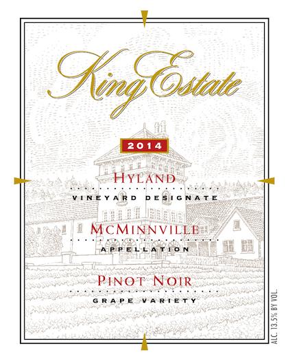 king estate hyland vineyard pinot noir label 2014 - King Estate 2014 Hyland Vineyard Pinot Noir, McMinnville $55