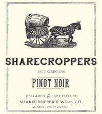 sharecroppers wine co pinot noir 2017 label 199x223 - Sharecropper's Wine Co. 2017 Pinot Noir, Willamette Valley, $16