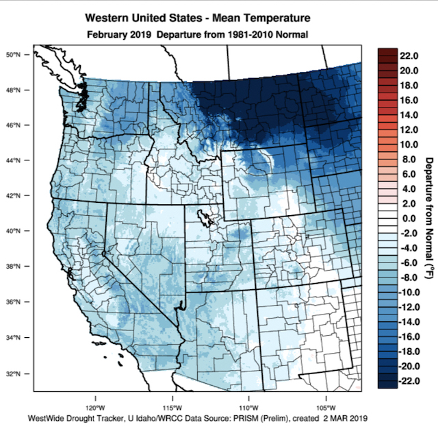 western united states mean temperature february 2019 - March enters as lion for Columbia Valley vineyards