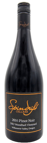spindrift cellars osu woodhall vineyard pinot noir 2016 bottle - Spindrift Cellars 2016 OSU Woodhall Vineyard Pinot Noir, Willamette Valley, $28