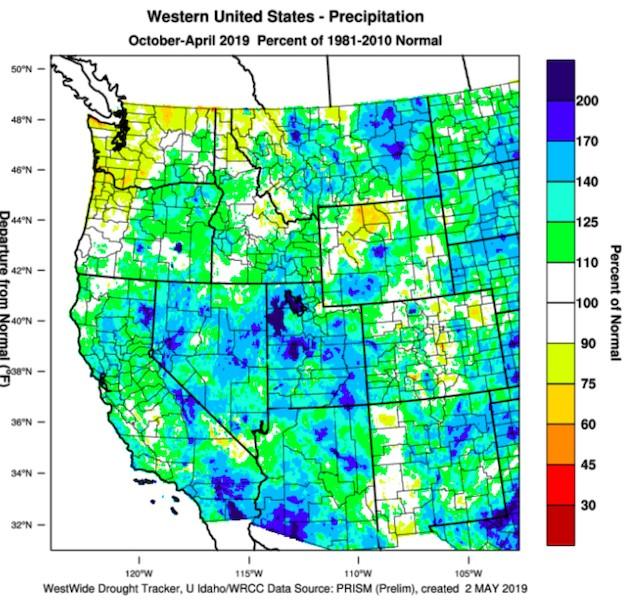 western us precipitation october april 2019 - 2019 vintage off to warm start in Northwest vineyards