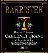 barrister winery bacchus vineyard cabernet franc 2016 label 199x223 - Barrister Winery 2016 Bacchus Vineyard Cabernet Franc, Columbia Valley, $31