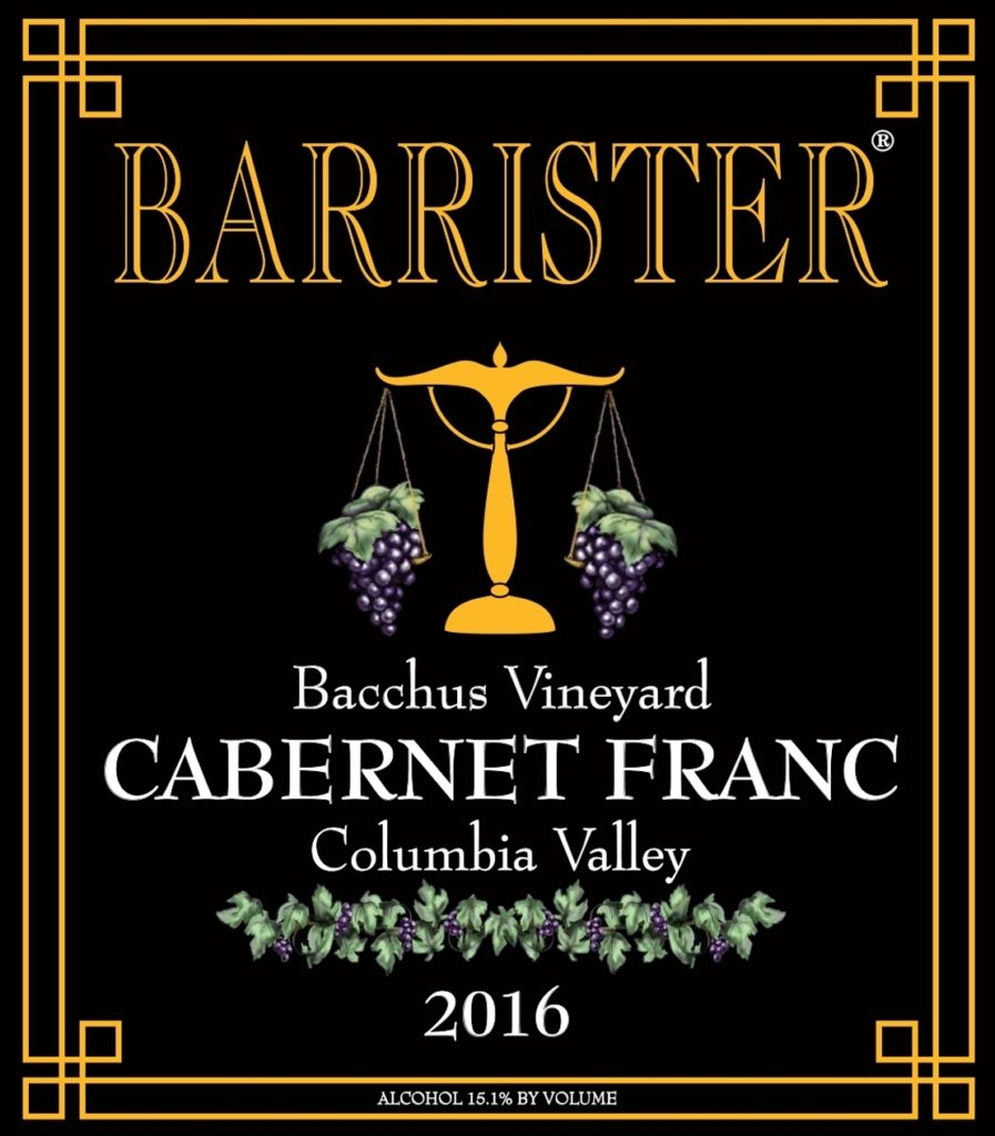 barrister winery bacchus vineyard cabernet franc 2016 label 897x1024 - Barrister Winery 2016 Bacchus Vineyard Cabernet Franc, Columbia Valley, $31