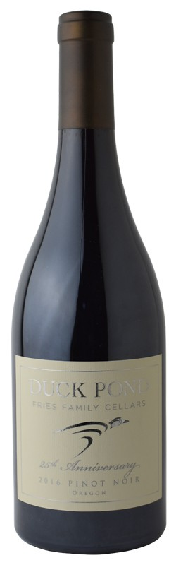 duck pond fries family cellars 25th anniversary pinot noir 2016 bottle - Duck Pond Fries Family Cellars 25th Anniversary 2016 Pinot Noir, Oregon, $52