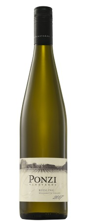 ponzi vineyards riesling 2017 bottle - Ponzi Vineyards 2017 Riesling, Willamette Valley, $22