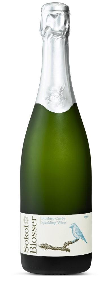 sokol blosser bluebird cuvee sparkling wine 2016 bottle 396x1024 - Sokol Blosser Winery 2016 Bluebird Cuvée Sparkling Wine, Oregon 70% Washington 30%, $25