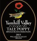 yamhill valley vineyards tall poppy pinot noir 2015 label 120x134 - Yamhill Valley Vineyards 2015 Tall Poppy Single Block Designate Pinot Noir, Willamette Valley, $75