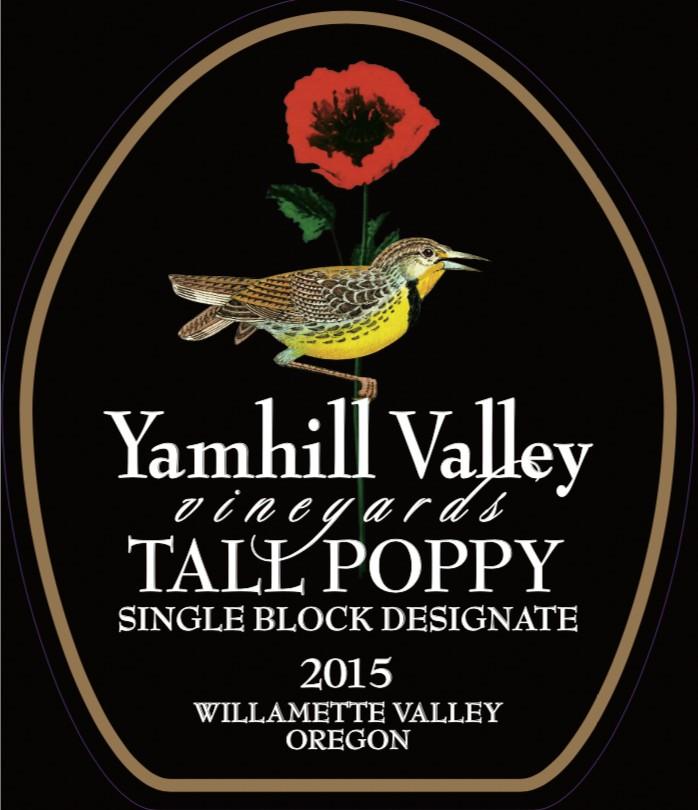 yamhill valley vineyards tall poppy pinot noir 2015 label - Yamhill Valley Vineyards 2015 Tall Poppy Single Block Designate Pinot Noir, Willamette Valley, $75