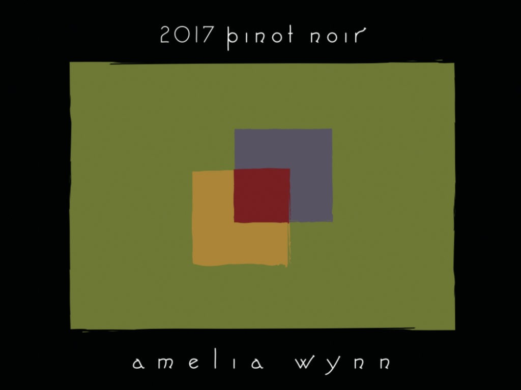 amelia wynn winery pinot noir 2017 label 1024x768 - Amelia Wynn Winery 2017 Pinot Noir, Oregon State, $36