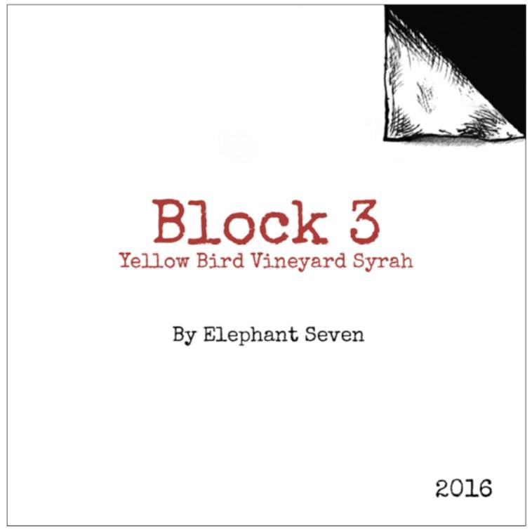 elephant seven winery yellow bird vineyard block 3 syrah 2016 label - Elephant Seven Wine 2016 Yellow Bird Vineyard Block 3 Syrah, Walla Walla Valley, $45