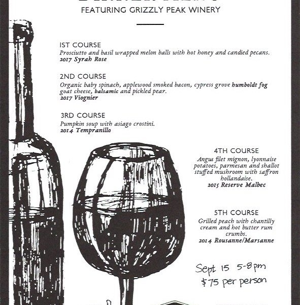 Wine Dinner at River Station - Grizzly Peak Wine Dinner at River Station
