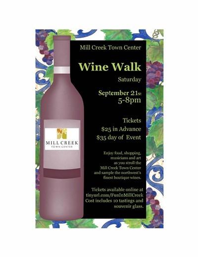 mill creek town center wine walk 2019 poster - Mill Creek Town Center Wine Walk 2019