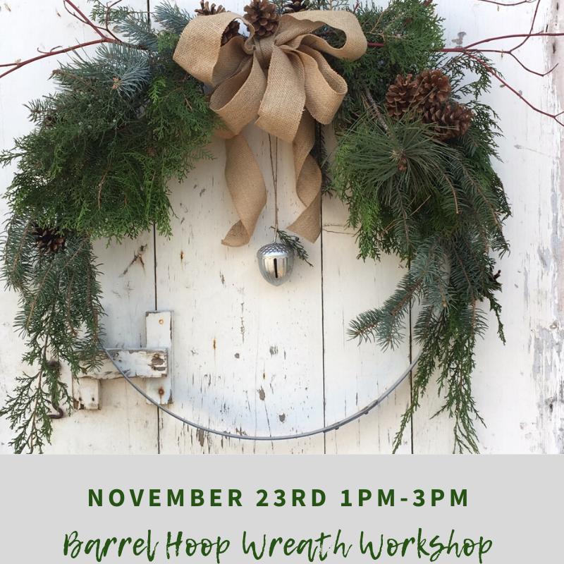 November 23rd 1pm 3pm - Barrel Hoop Wreath Workshop at Purple Star Winery