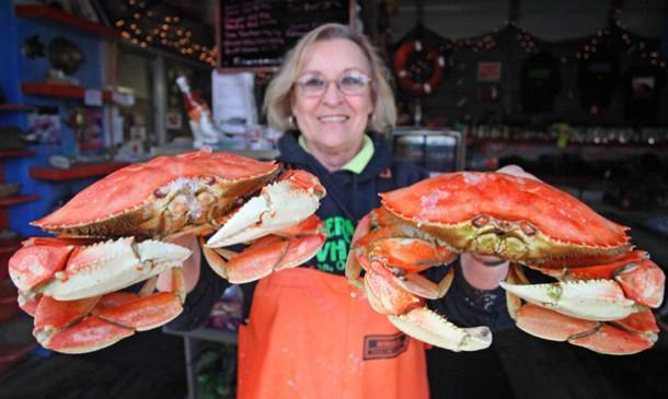 Lady with 2 Crabs - 15th annual Portland Seafood & Wine Festival