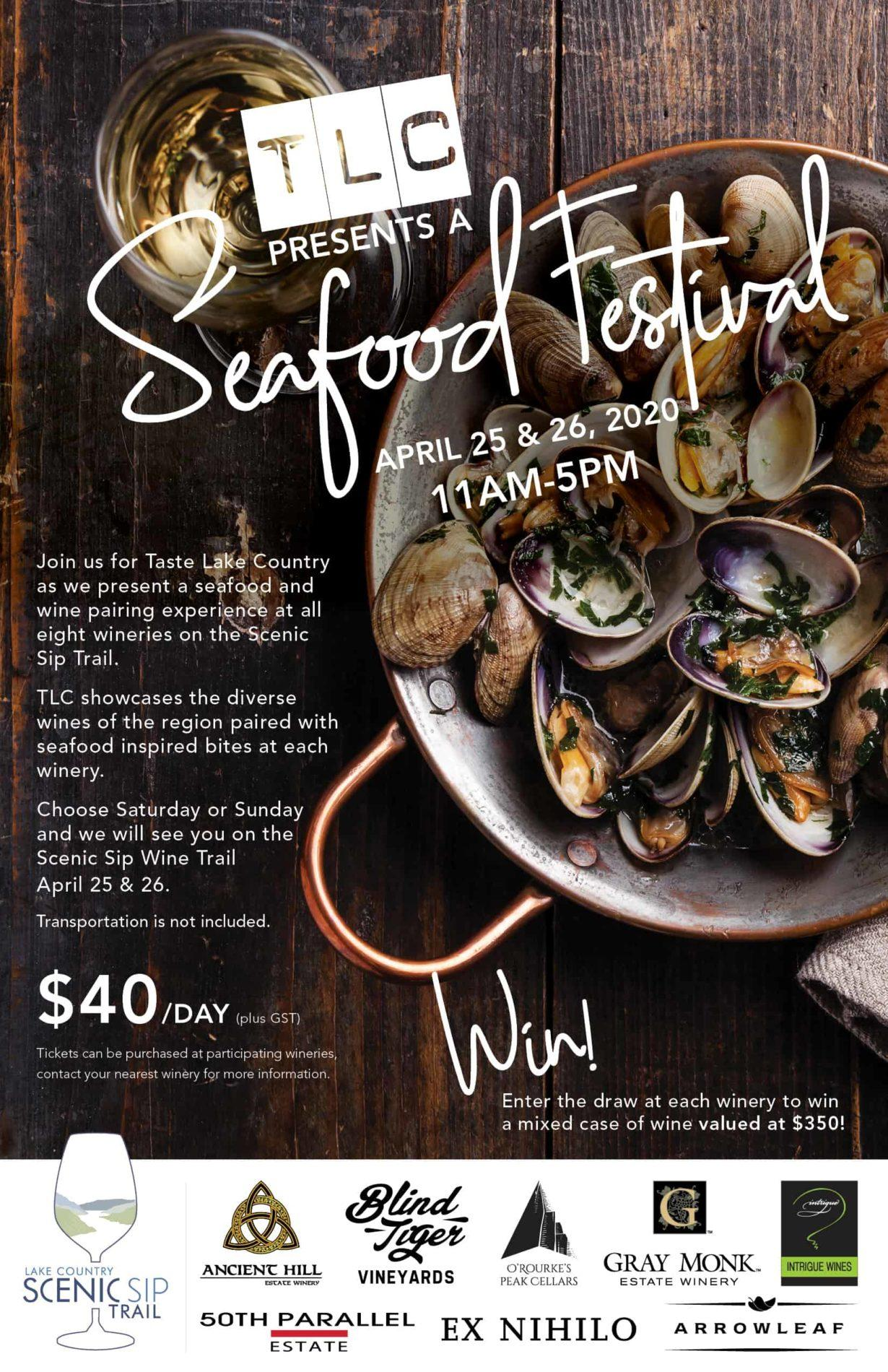 ScenicSip TLC SeafoodFestival Poster - Scenic Sip Trail PRESENTS Taste Lake Country Seafood Festival