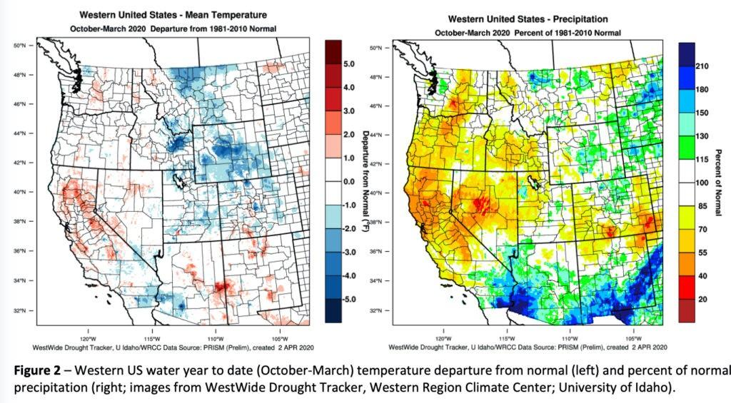 western united states october march 2020 mean temperature precipitation 1024x565 - First markers for 2020 vintage include wet January, cool start to April