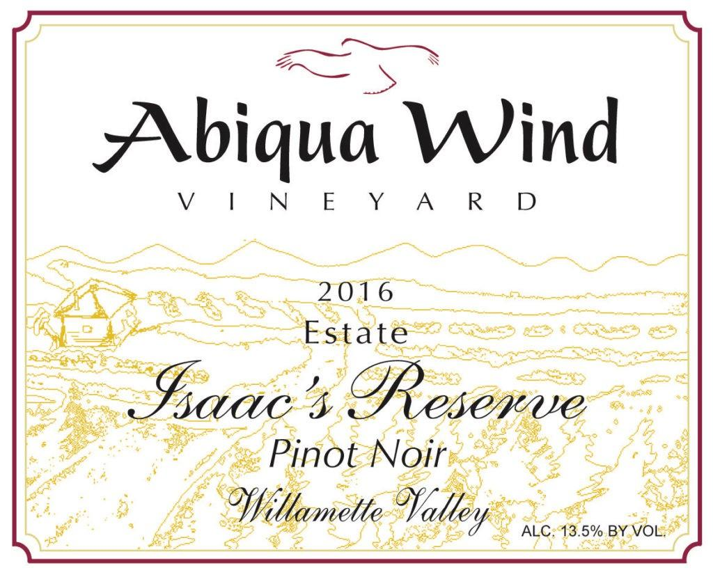 abiqua wind vineyard estate isaacs reserve pinot noir 2016 label 1024x829 - Abiqua Wind Vineyard 2016 Estate Isaac's Reserve Pinot Noir, Willamette Valley, $25