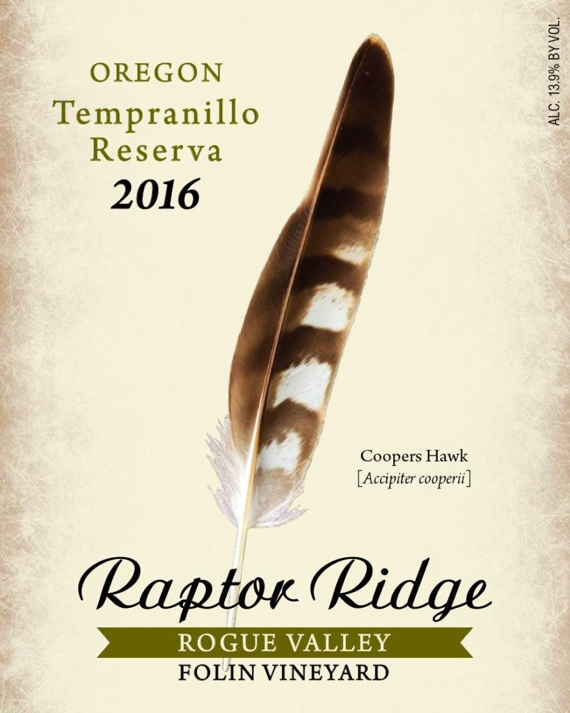 raptor ridge winery folin vineyard tempranill 2016 label 819x1024 - Raptor Ridge Winery 2016 Folin Vineyard Tempranillo Reserva, Rogue Valley, $40