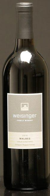 weisinger family winery gold vineyard malbec 2016 bottle e1592374206490 - Weisinger Family Winery 2016 Gold Vineyard Malbec, Rogue Valley, $32