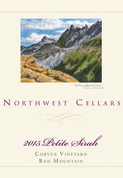 northwest cellars corvus vineyard petite sirah 2015 bottle - Northwest Cellars 2015 Corvus Vineyard Petite Sirah, Red Mountain, $36