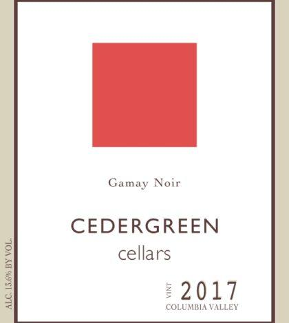 cedergreen cellars gamay noir 2017 label 420x470 - Cedergreen Cellars 2017 Gamay Noir, Columbia Valley, $27