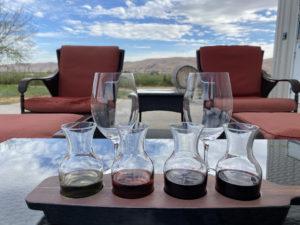 patio flight 300x225 - Wine Flights on the Patio at Purple Star Winery