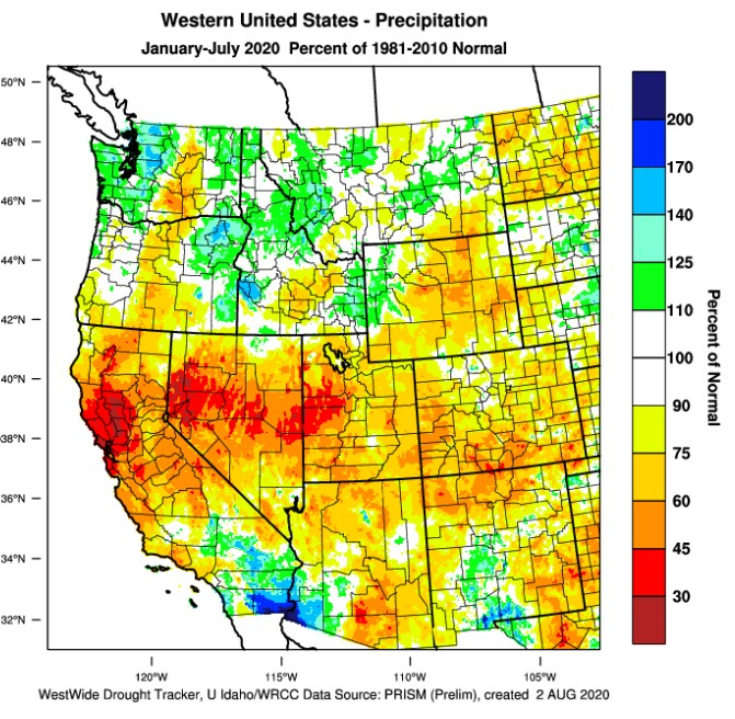 western us precipitation january july 2020 1 - 2020 vintage for Northwest tracks dry, warm but not hot