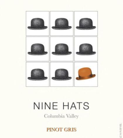 nine hats wines pinot gris nv label 420x470 - Nine Hats Winery 2018 Pinot Gris, Columbia Valley, $14