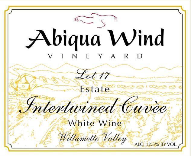abiqua wind vineyard nv lot 17 estate intertwined cuvee white wine label - Abiqua Wind Vineyard NV Lot 17 Estate Interwined Cuvèe White Wine, Willamette Valley, $15