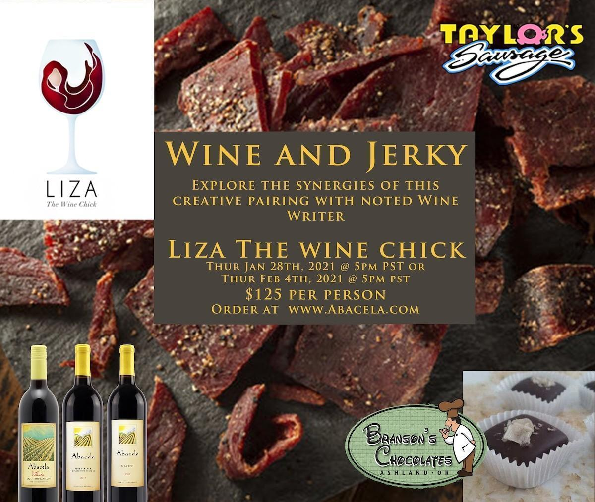 liza wine chick abacela jerky poster 2021 - Southern Oregon Wine and Artisanal Jerky with Liza the Wine Chick