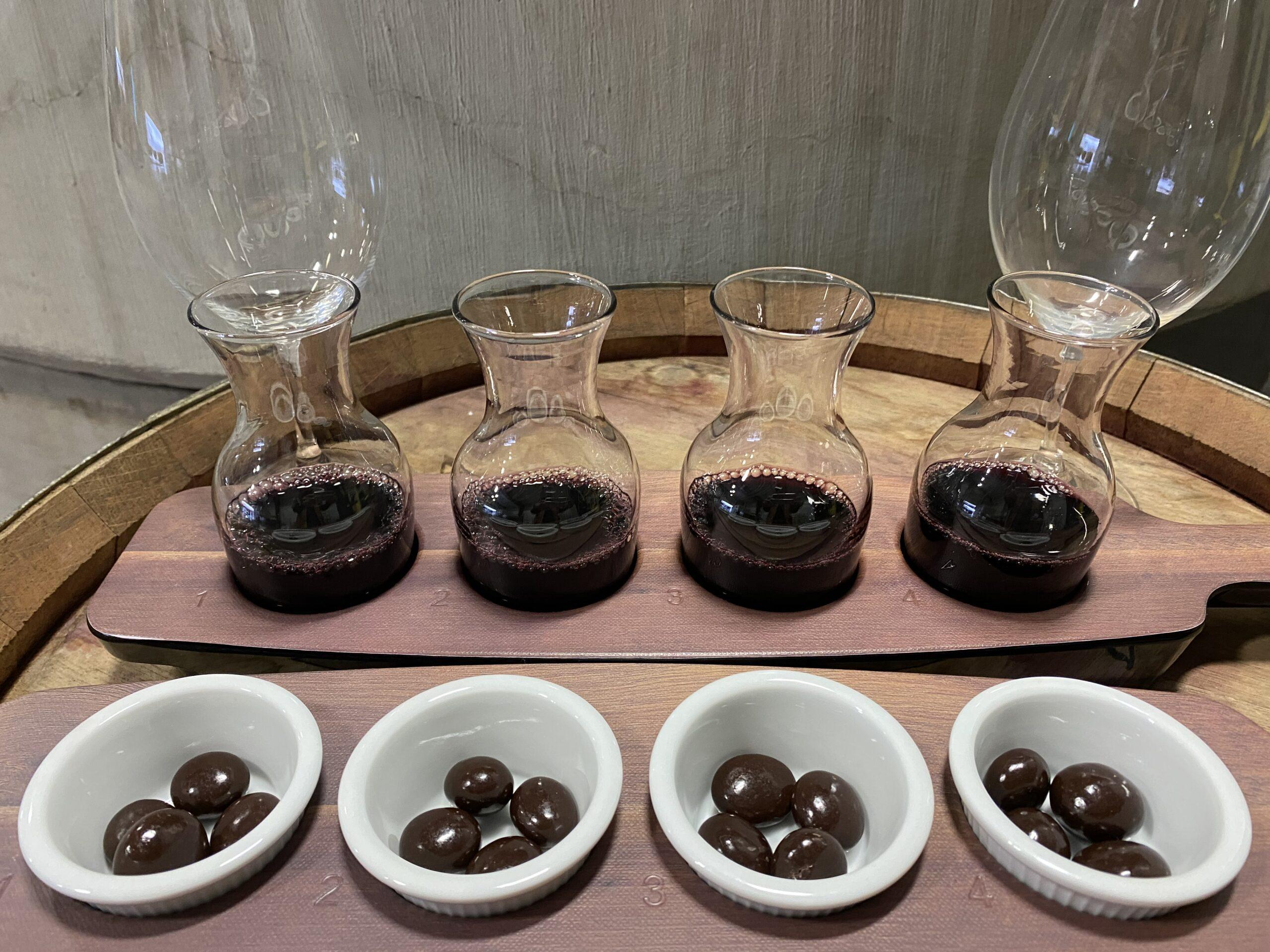 WineChocolate flight scaled - Wine and Chocolate Flights at Purple Star Winery